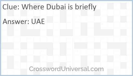 Where Dubai is briefly Answer