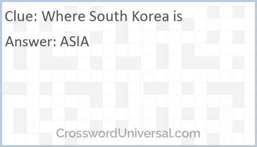 Where South Korea is Answer