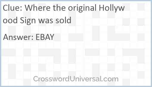 Where the original Hollywood Sign was sold Answer