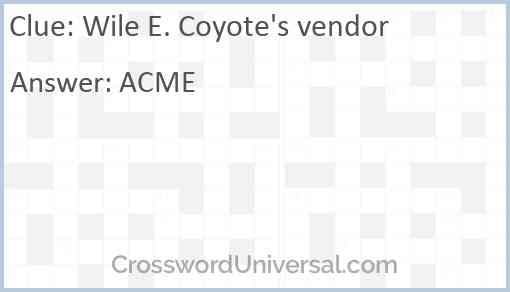 Wile E. Coyote's vendor Answer