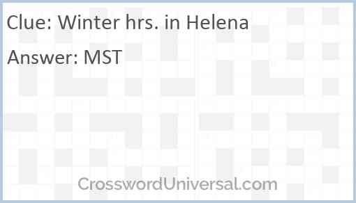 Winter hrs. in Helena Answer