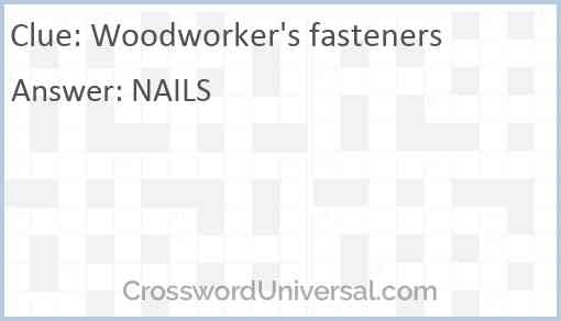 Woodworker's fasteners Answer