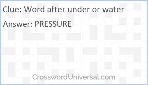 Word after under or water Answer