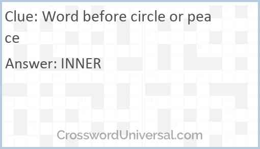 Word before circle or peace Answer