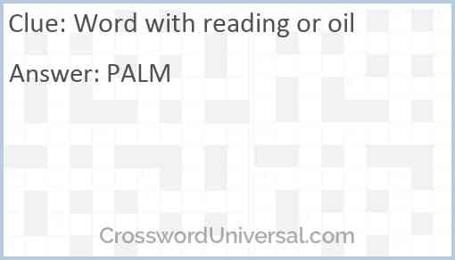 Word with reading or oil Answer