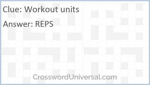 Workout units Answer