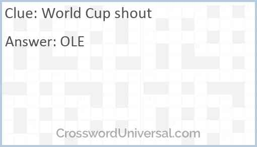 World Cup shout Answer