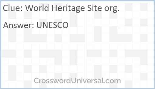 World Heritage Site org. Answer