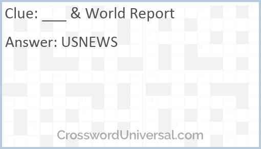 ___ & World Report Answer