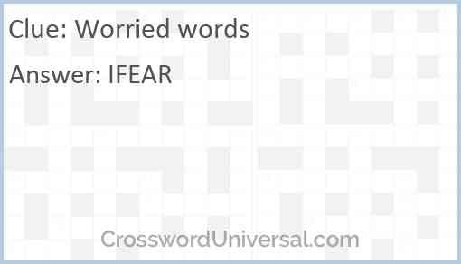 Worried words Answer