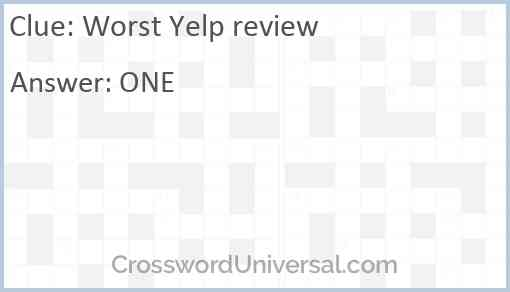 Worst Yelp review Answer