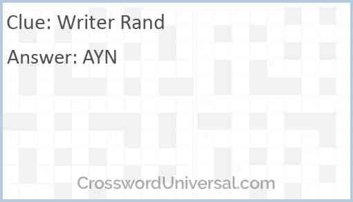 Writer Rand Answer