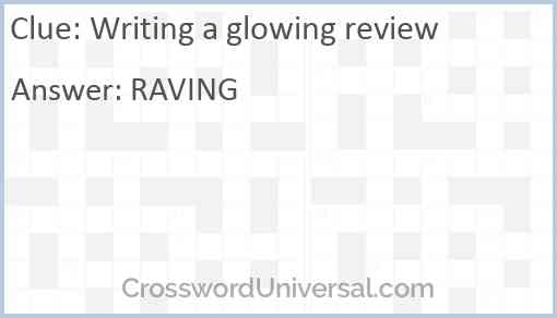 Writing a glowing review Answer