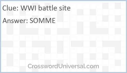 WWI battle site Answer