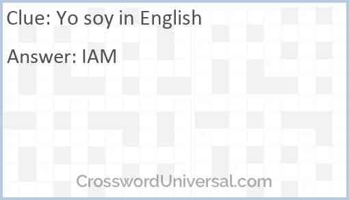 Yo soy in English Answer