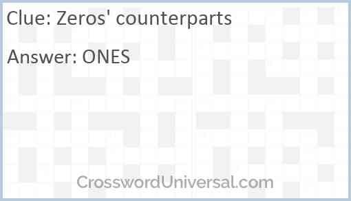 Zeros' counterparts Answer