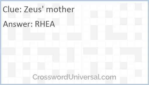 Zeus' mother Answer